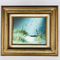 VTG Oil Painting Ocean Landscape Sea Shore Seagulls Beach Framed Signed