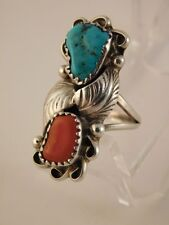 TURQUOISE CORAL STERLING SILVER RING SZ 5 3/4 NAVAJO TJW FEATHER SIGNED