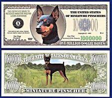1-Miniature Pinscher Dog Dollar Bill -Puppy- Collectible- Novelty- Money- X1