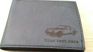 Porsche 911 engraved Leather Wallet (merchandise gift present classic)