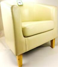 NEW CREAM BONDED LEATHER TUB CHAIR ARMCHAIR LIVING ROOM DINING OFFICE RECEPTION