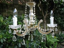 Original Vintage Cut Glass Chandelier, 3 branch, Mid to Late Century