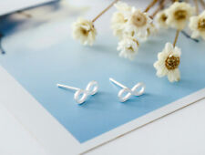 Genuine 925 Sterling Silver Solid Infinity Stud Earrings Eternity Gift Jewelry