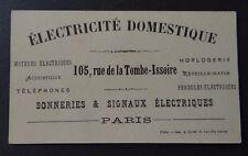 Carte de visite ELECTRICITE DOMESTIQUE Horlogerie Téléphone PARIS old visit card