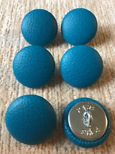 Faux Leather 30L/19mm Teal Vinyl Covered Loop Back Upholstery Buttons (Blue)