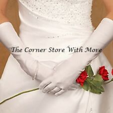 Pair Long White Gloves for Deb Set Formal Women's Satin Shine NEW 38cm to elbow