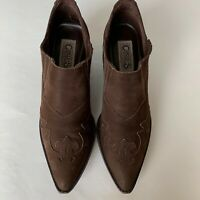 Carlos by Carlos Santana Corral Booties Brown Leather Ankle Boots Women's Size 8