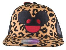 Deadmau5 Men's Black Gold Leopard Cheetah Flock Print Mesh Baseball Snapback Hat