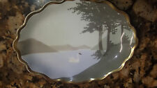 """Antique Dresden B.T Co. Germany White Swan 6"""" Porcelain Dish Plate 1890-1920"""