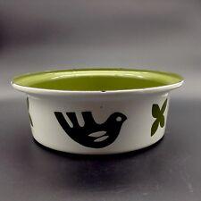 "Hanova of Pasadena Enamel Bird White Green 11"" Bowl Mid Century Modern Eames"