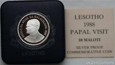 1988 Lesotho Pope John Paul 10 Maloti Silver Proof Coin