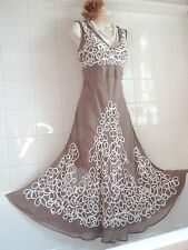 CHANGES VTG Style 1920's Look Mocha Nude Deco Embroidered Gatsby Flapper DRESS
