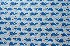 Blue Whale Flannelette Fabric 108cm Wide (per metre)