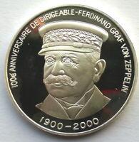 Congo 2000 Zeppelin 1000 Francs Silver Coin,Proof