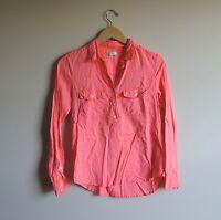 Women's J Crew Button Popover Blouse Neon Pink Shirt Size 2