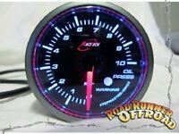 Oil Pressure Gauge 52mm BAR Audible Alarm for Commodore - AMBER BACKLIT