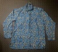Vintage Batik Shirt Aloha Hawaiian 90's Retro Tribal MOD Hippie SZ L Multi Color