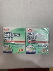 2 Packs of CVS Sugar Free Nicotine Polacrilex Gum 4 mg 170 Pieces 07/17