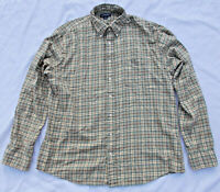 Lands End L/T 16-16.5 Tall Mens Cotton/CASHMERE Flannel shirt Sage Green PERFECT