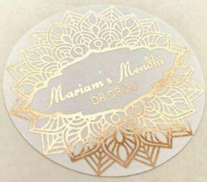 Personalised ROSE GOLD Foiled Wedding Mehndi Nikkah Walima Stickers Labels Logo