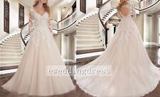 New Elegant Long Sleeve Lace A-line Wedding Dress bridal Gown Ball Custom Size