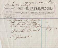 1880 R. Castelvecchi New York Original Invoice - Plaster Statues
