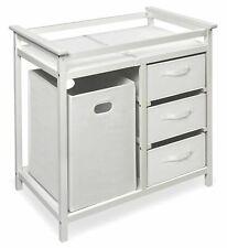 Baby Changing Table Diaper Station Infant Nursery Furniture Basket Shelves White