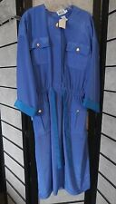 Leslie Fay Blue Button Belted Dress Size 14 NWT NOS
