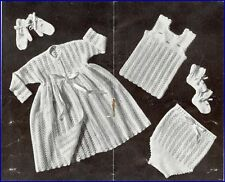 Vintage Baby Knitting Pattern LACY 6 piece Layette Gorgeous design in 3 Ply