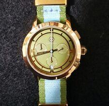 NIB Authentic Tory Burch Stripe Gold Green Blue Chronograph Watch