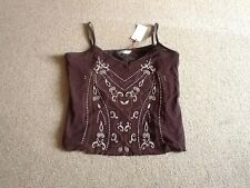 Canvas chocolate brown camisole vest top with bead detail Sz 20 BNWT