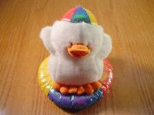 WHITE  DUCK ON A SWIMMING TUBE FLOAT 10 INCH PLUSH STUFFED ANIMAL CALTOY