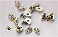 40pz Borchie sfuse teschio a rivetto color argentato*40 skull rivet stud silver