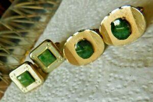 Lot of 2 Pair Vintage Cufflinks Gold Tn w/Jade Green Stones / Pcs. Dante & Unbra