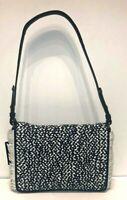 NWT Cole Haan Summer Night Blue-Ivory Ziva Weave Leather Shoulder Bag