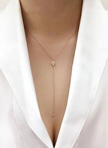 5 Diamonds Bezel Lariat  Rolo Chain 14k Rose Gold Dainty Y Necklace