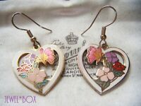 VINTAGE 1970s CLOISONNE ENAMEL Hearts Flowers Butterflies Drop Pendant EARRINGS