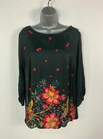 WOMENS NEXT SIZE UK 14 BLACK FLORAL 3/4 SLEEVE CASUAL CREW NECK BLOUSE SHIRT TOP
