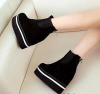New Women Suede Wedge Platform Sneaker Hidden High Heel Shoes Ankle Boots Casual