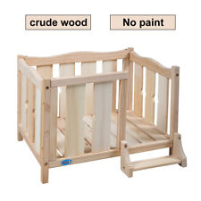 Wooden Dog House Bed Elevated Open Dog Bed Frame Furniture Cat House w/ Ladder