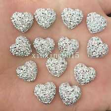 DIY 40pcs Resin 12mm Hlaf Heart/FlatBack Appliques Scrapbooking for phone/silver
