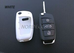 HIGH GLOSS HARD ABS PLASTIC 3 BUTTON FLIP KEY FOB PROTECTOR CASE  AUDI A1 A4 RS
