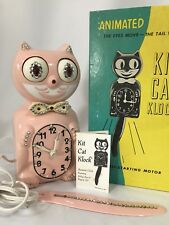 Vintage 80s Rare Pink Jeweled Electric Kit Cat Klock Clock Original Box D8 Works