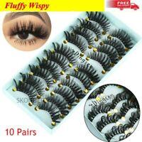 10 Pairs 3D Faux Mink Hair Fluffy Wispy False Eyelashes Long Eye Lashes Handmade