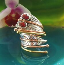 ANNEAU SERPENT kobra yeux en Opale de feu rouge argent sterling 925