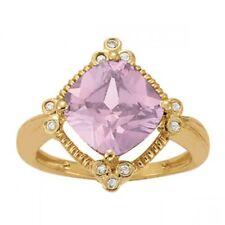 NEW LADIES 14k YELLOW GOLD DIAMOND & LAVENDER AMETHYST CUSHION CUT RING