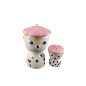 Vintage PINK Clown Egg Cup Salt Set FREE SHIPPING Anthropomorphic