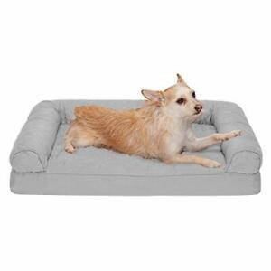 Furhaven Pet Dog Bed - Orthopedic Quilted Traditional Sofa-Style Living Room Cou