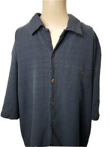 Caribbean Men's Button Front Shirt Size Large Dark Blue Silk Blend