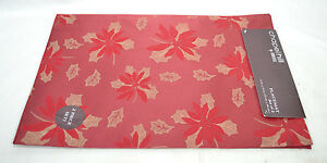 2 4 6 8 or 12 Christmas Placemats Croscill Chapel Hill Dk Red Poinsettea NEW